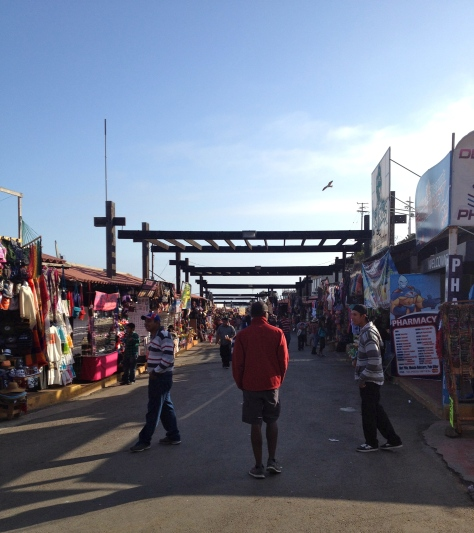Running the gauntlet of vendors at the Bufadora near Ensenada.