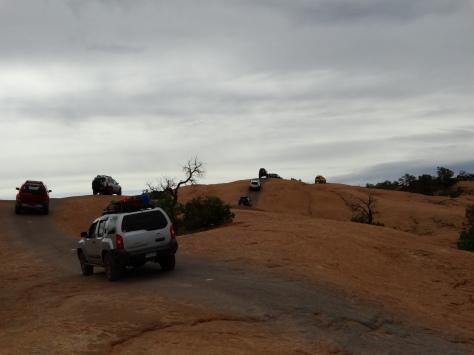 Nissan XTerras caravaning through Fins & Things trail.